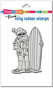 Surfing Santa - Christmas Cling Rubber Stamp