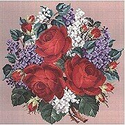 Roses And Lilacs Bouquet - Cross Stitch Pattern