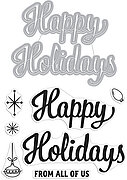 Happy Holidays Stamp and Cut - Christmas Stamp and Die