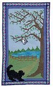 Puppy at the Door on a Spring Day - Cross Stitch Pattern