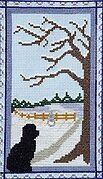 Puppy Waiting at the Door on a Winter Day - Cross Stitch Pat