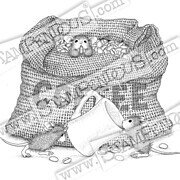 Coffee Break - House Mouse Cling Rubber Stamp