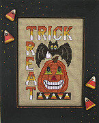 Trick or Treat (Pumpkin & Bat) - Cross Stitch Pattern
