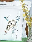 Fish Perle Edge Pillowcases - Embroidery Kit