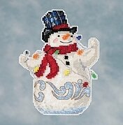 Snowman with Lights - Jim Shore Beaded Cross Stitch Kit