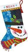 Patterned Snowman Christmas Stocking - Needlepoint Kit