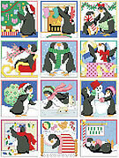 Penguin Christmas Ornaments - Cross Stitch Pattern