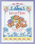 Bears On Toile Birth Record - Cross Stitch Pattern