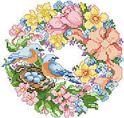 Wreath For Spring, A - Cross Stitch Pattern