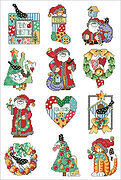 Country Folk Christmas Ornaments - Cross Stitch Pattern