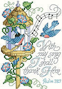 Psalm 28:7 - Christian Cross Stitch Pattern