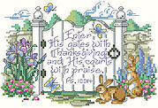 Psalm 100:4 - Christian Cross Stitch Pattern