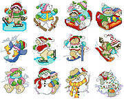 Winter Fun Christmas Ornaments - Cross Stitch Pattern