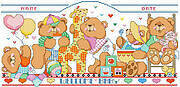 Bouncing Baby Bears Birth Record - Cross Stitch Pattern