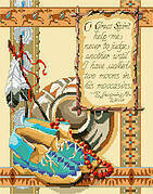 In His Moccasins - Cross Stitch Pattern