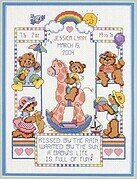 Bear Buddy Birth Record - Cross Stitch Pattern