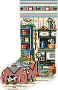 Holiday Kitchen Heirloom Christmas Stocking - Cross Stitch