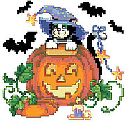 Cat, Bats, and Pumpkin - Halloween Cross Stitch Pattern