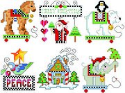 Checkered Christmas Ornament Set 4 - Cross Stitch Pattern
