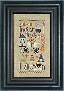 Halloween Sampler with Charms and Buttons - Cross Stitch Pat