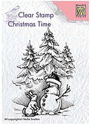 Christmas Snowman and Rabbit - Nellie's Choice Clear Stamp
