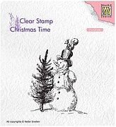 Christmas Snowman with Tree - Nellie's Choice Clear Stamp