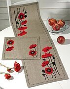 Poppy Table Runner (Linen) - Cross Stitch Kit