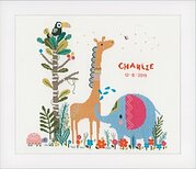 Jungle Animal Party Birth Announcement - Cross Stitch Kit