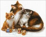Cat with Kittens - Cross Stitch Kit