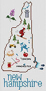 New Hampshire Map - Cross Stitch Pattern