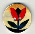 Jim Shore Red Tulip on Beige Button