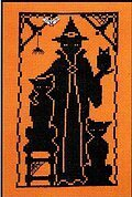 Halloween Silhouette Witches' Pets - Cross Stitch Pattern