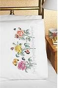 Rose Garden Stamped Embroidery Pillowcase Pair