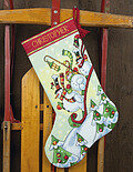 Sledding Snowmen Christmas Stocking - Cross Stitch Kit