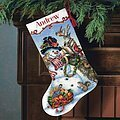 Snowman Gathering Stocking - Cross Stitch Kit